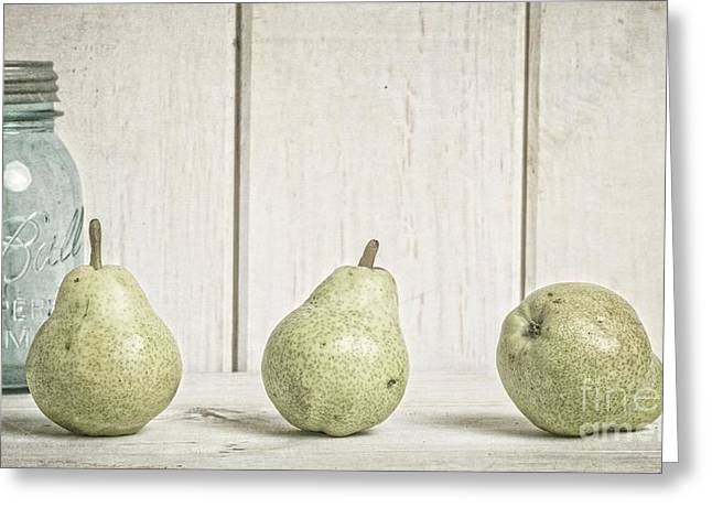 Pears Photographs Greeting Cards - Three Pear Greeting Card by Edward Fielding