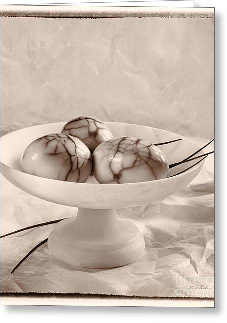 Cracked Eggs Greeting Cards - Three Smoked Eggs Greeting Card by Iris Richardson
