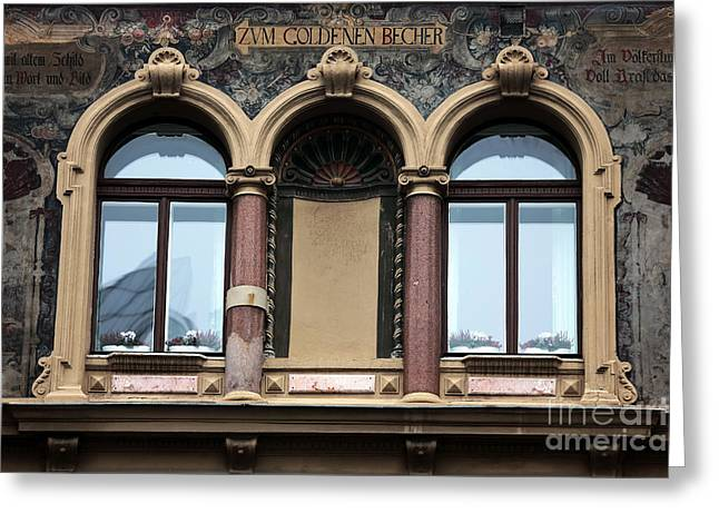 Gallery Three Greeting Cards - Three Windows in Vienna Greeting Card by John Rizzuto