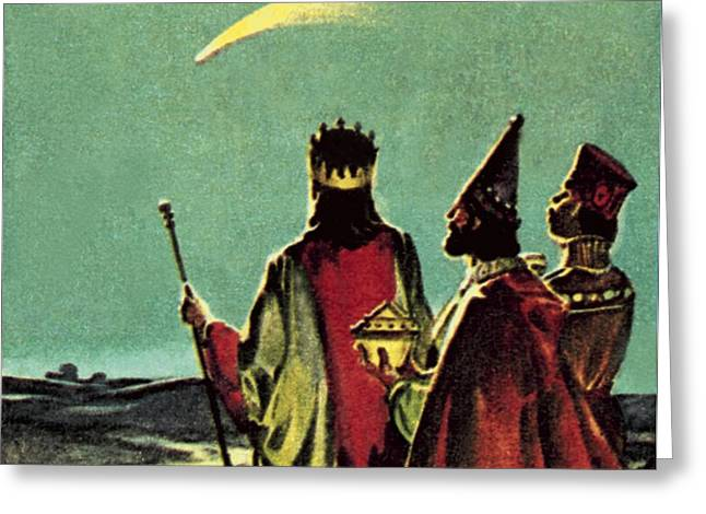 Comet Greeting Cards - Three Wise Men Greeting Card by English School