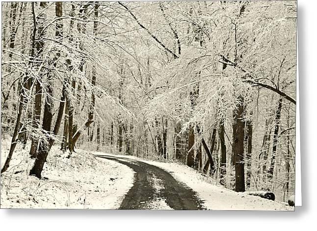 Vinter Greeting Cards - Through the Woods Greeting Card by Lj Lambert
