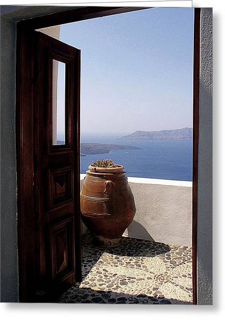 Santorini Greeting Cards - Through This Door Greeting Card by Julie Palencia