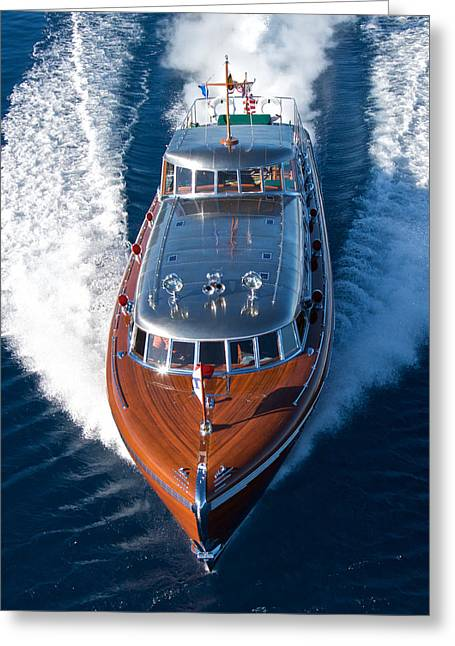 Mahogany Boat Greeting Cards - THUNDERBIRD aerial Greeting Card by Steven Lapkin