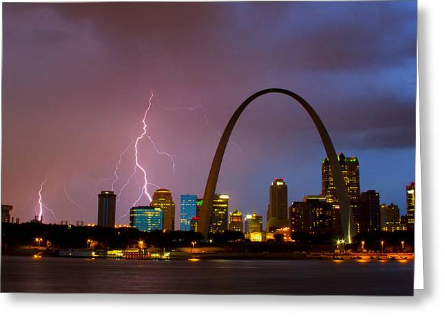 Jefferson National Expansion Memorial Greeting Cards - Thunderstorm over St Louis Greeting Card by Garry McMichael