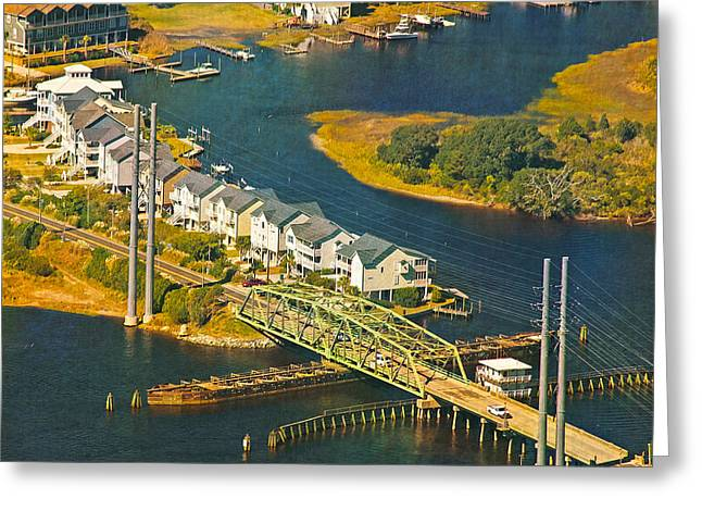 Topsail Island Greeting Cards - TI Swing Bridge Evening Greeting Card by Betsy C  Knapp