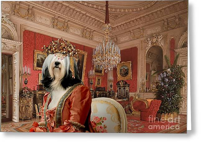 Dog Prints Greeting Cards - Tibetan Terrier Art Canvas Print Greeting Card by Sandra Sij