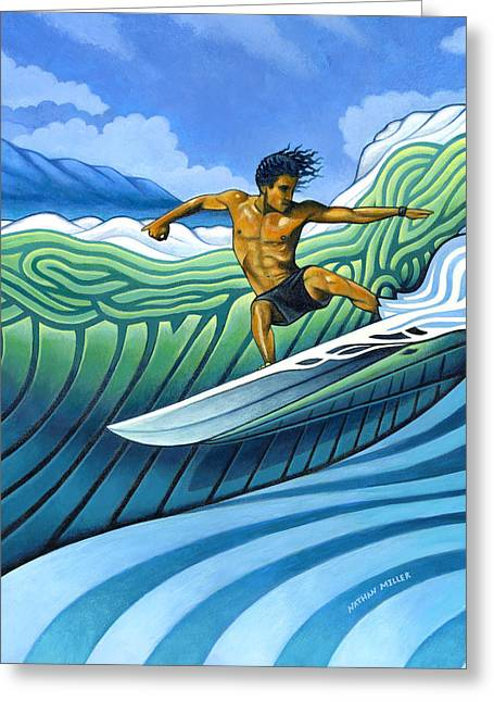 Surfing Art Greeting Cards - Tico Surfer Greeting Card by Nathan Miller