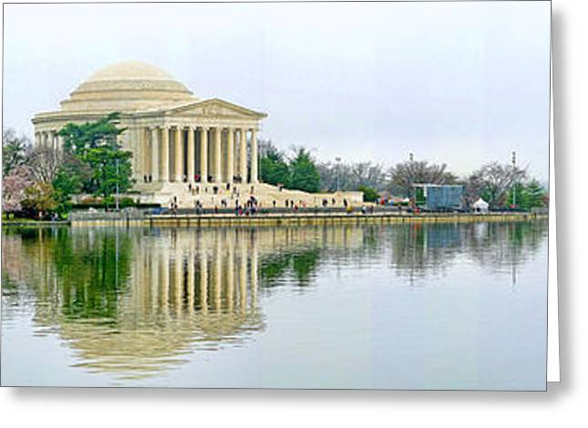 Tidal Greeting Cards - Tidal Basin with Cherry Blossoms Greeting Card by Jack Schultz