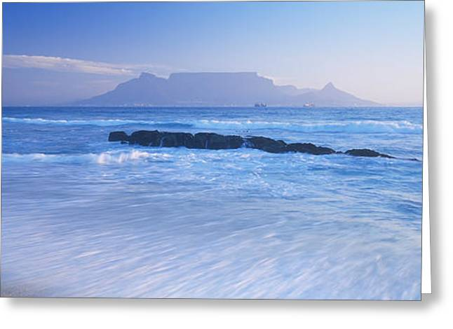 Wave Breaking Greeting Cards - Tide On The Beach, Table Mountain Greeting Card by Panoramic Images