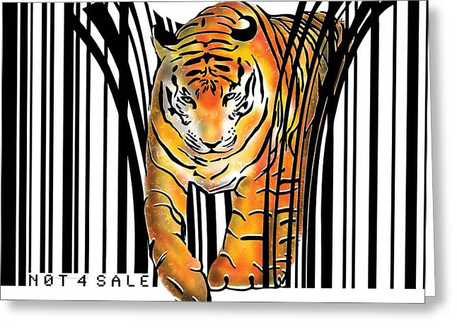 Tigers Digital Greeting Cards - Tiger barcode Greeting Card by Sassan Filsoof