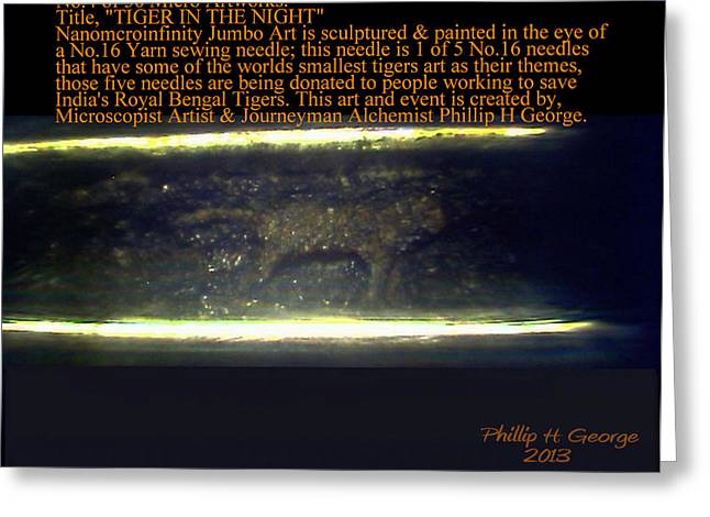 Modern Microscopic Art Greeting Cards - Tiger In The Night  Greeting Card by Phillip H George