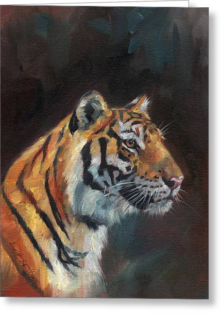 Tigress Greeting Cards - Tiger Portrait Greeting Card by David Stribbling