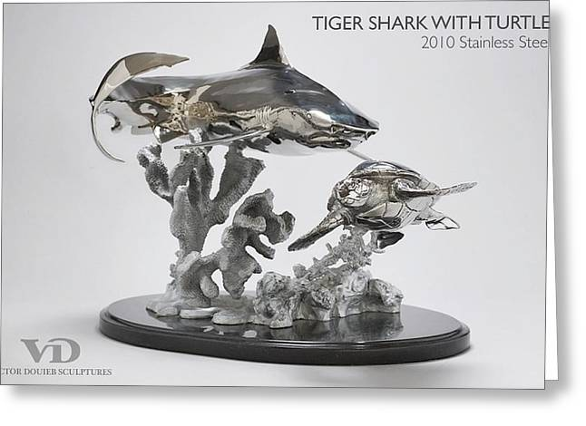 Turtle Sculptures Greeting Cards - Tiger Shark with Turtle Greeting Card by Victor Douieb