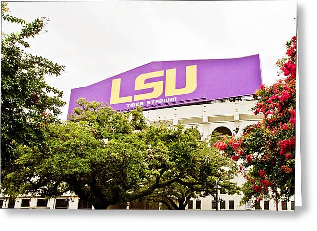 Lsu Tigers Greeting Cards - Tiger Stadium Greeting Card by Scott Pellegrin