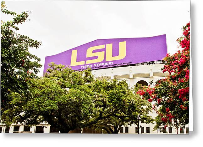 Lsu Football Greeting Cards - Tiger Stadium Greeting Card by Scott Pellegrin