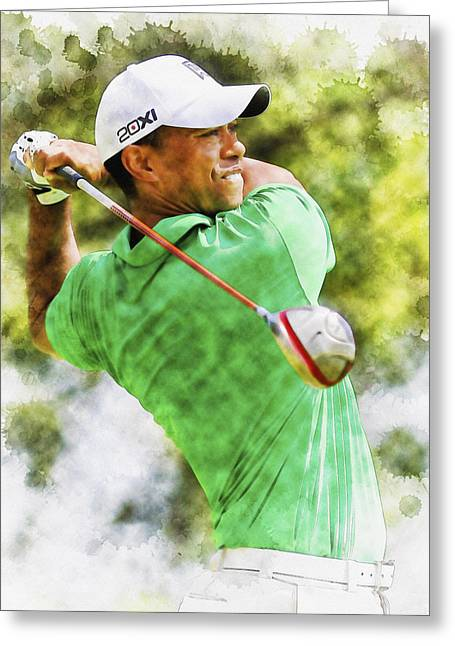 Northern Africa Digital Art Greeting Cards - Tiger Woods hits a drive  Greeting Card by Don Kuing