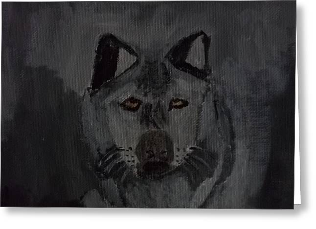 Etc. Paintings Greeting Cards - Timber Wolf Acrylic Painting Greeting Card by William Sahir House