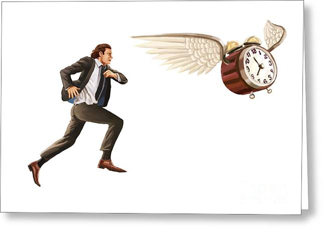 Passing The Time Greeting Cards - Time Flies Greeting Card by Spencer Sutton