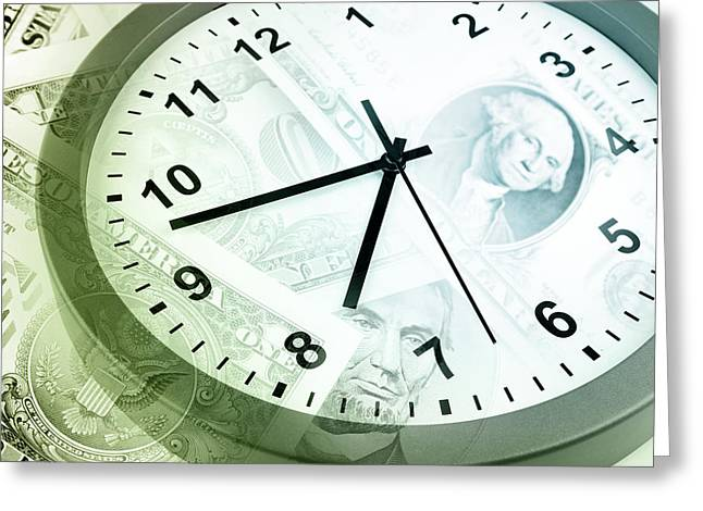 Metaphorical Greeting Cards - Time is money Greeting Card by Les Cunliffe