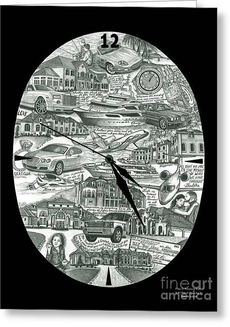 Prospects Drawings Greeting Cards - Time is priceless Greeting Card by Omoro Rahim