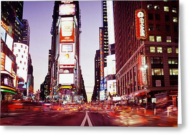 Visitors Greeting Cards - Times Square, Nyc, New York City, New Greeting Card by Panoramic Images