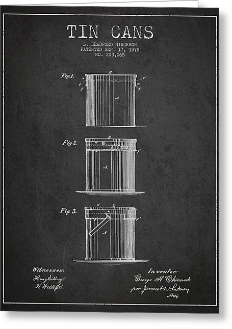 Pop Can Greeting Cards - Tin Cans Patent Drawing from 1878 Greeting Card by Aged Pixel