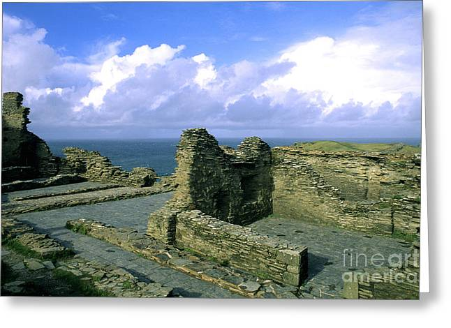 Tintagel Greeting Cards - Tintagel Castle In Cornwall, England Greeting Card by Bill Bachmann