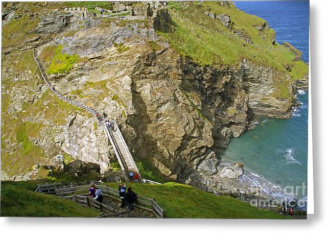 Uther Pendragon Greeting Cards - Tintagel Castle Greeting Card by Rod Jones