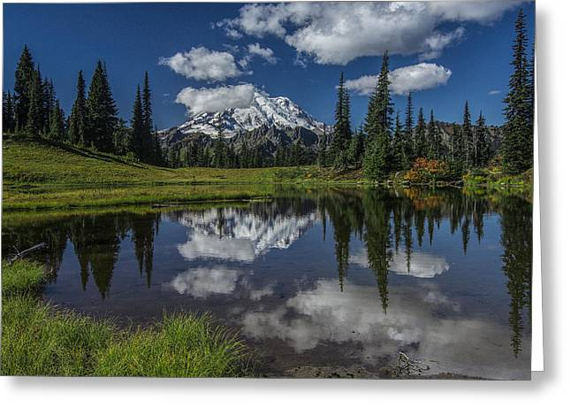 Public Issue Greeting Cards - Tipsoo Lake and Rainier Greeting Card by Mike Sedam