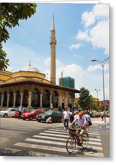 Tirana, Albania. Ethem Bey Mosque Greeting Card by Ken Welsh