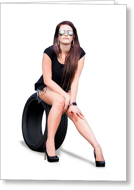 Tire Woman On Tyre Greeting Card by Jorgo Photography - Wall Art Gallery