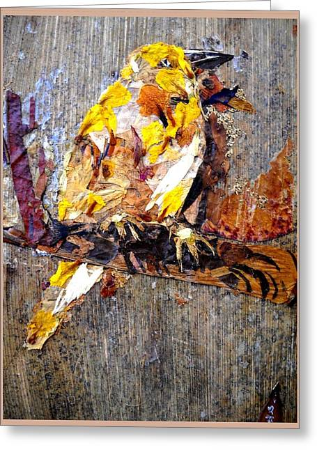 Bird On Tree Mixed Media Greeting Cards - Tired Bird Greeting Card by Basant Soni