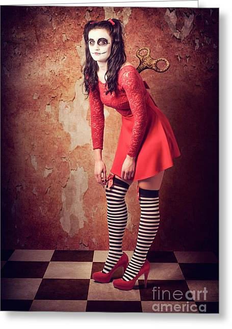 Tired Human Wind-up Doll With Sugar Skull Make Up Greeting Card by Jorgo Photography - Wall Art Gallery