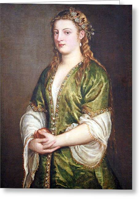 Lady Washington Greeting Cards - Titians Portrait Of A Lady Greeting Card by Cora Wandel
