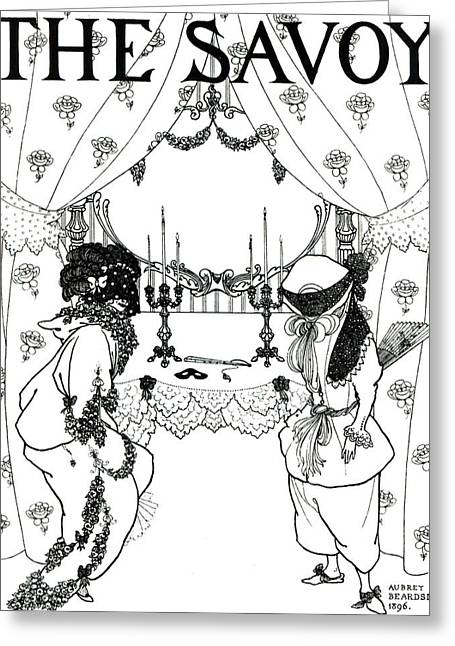 Candelabra Greeting Cards - Title Page from The Savoy Greeting Card by Aubrey Beardsley