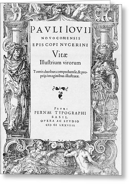 1500s Greeting Cards - Title Page Of Giovios Vitae, 1578 Greeting Card by Middle Temple Library