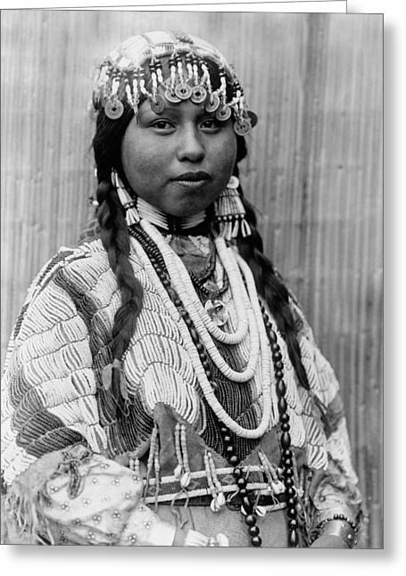 Braids Greeting Cards - Tlakluit Indian woman circa 1910 Greeting Card by Aged Pixel