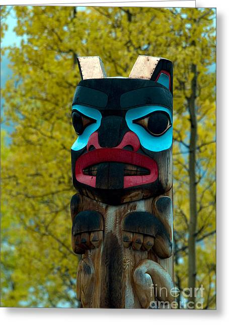 Painted Wood Greeting Cards - Tlingit Totem Greeting Card by Mark Newman