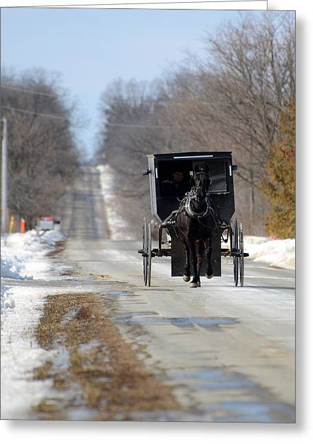 Amish Greeting Cards - To Market Greeting Card by Linda Mishler
