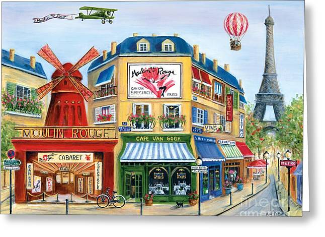 Wine Scene Paintings Greeting Cards - To Paris With Love II Greeting Card by Marilyn Dunlap
