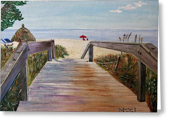 Sand Fences Paintings Greeting Cards - To the beach Greeting Card by Marilyn  McNish