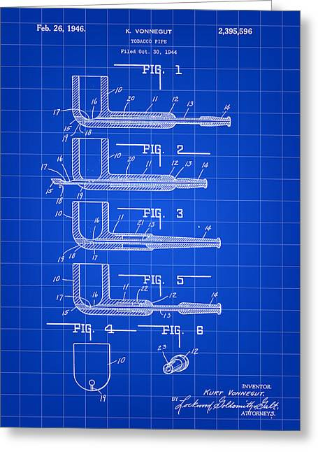 Tobacco Pipe Patent 1944 - Blue Greeting Card by Stephen Younts