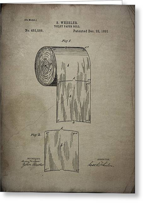Vintage Potty Greeting Cards - Toilet Paper Roll Patent 1891 Greeting Card by Chris Smith