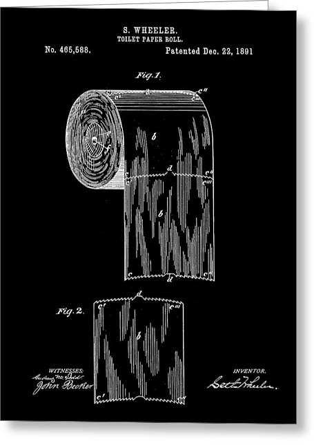 Vintage Potty Greeting Cards - Toilet Paper Roll Patent 1891 - Black Greeting Card by Stephen Younts