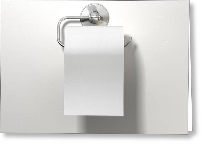 Toilet Paper Greeting Cards - Toilet Roll On Chrome Hanger Greeting Card by Allan Swart