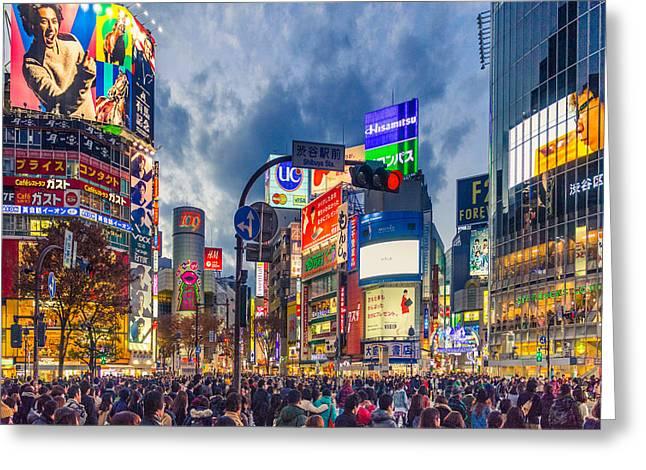 Tokyo Photographs Greeting Cards - Tokyo Japan Shibuya Crossing Greeting Card by Cory Dewald