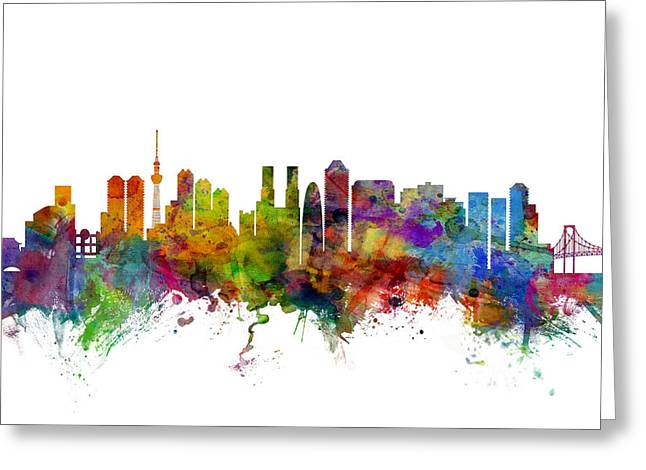 Tokyo Skyline Greeting Cards - Tokyo Japan Skyline Greeting Card by Michael Tompsett