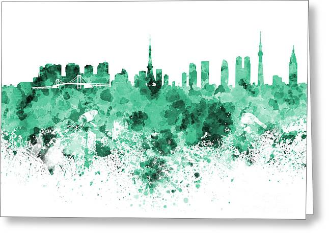 Tokyo Skyline In Watercolor On White Background Greeting Card by Pablo Romero