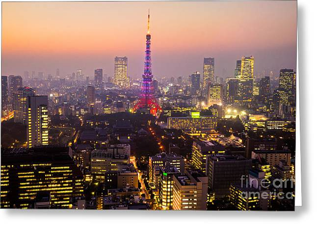 Tokyo Skyline Greeting Cards - Tokyo Tower - Tokyo - Japan Greeting Card by Luciano Mortula