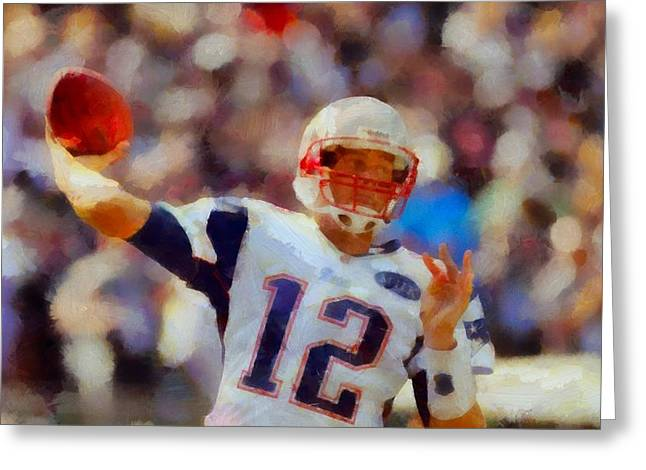 National Football League Paintings Greeting Cards - Tom Brady Greeting Card by Dan Sproul